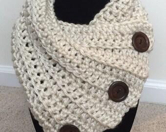 Three Button Crochet Cowl