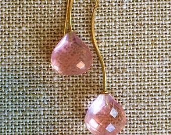 Pink Quartz Earrings, Drop Earrings, 14k Gold Earrings, Pink Earrings