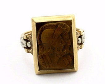 Tiger's Eye Vintage 10K Gold Ring, Tiger's Eye Men's Ring Band, Warrior Ring, Men's Ring, Men's Jewelry
