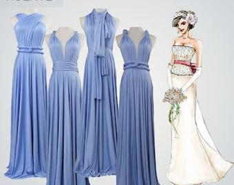 set of 4 Infinity dress bridesmaid,  infinity dress long,convertible maxi dress,blue bridesmaid dress,convertible dresses,wrap dresses