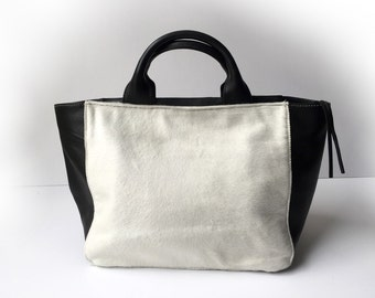 Leather tote, White  bag, White leather bag, Leather totebag, Leather bag woman, leather tote, White NAYRA tote