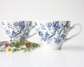 Pair of Vintage Tea Cups English Made Blue and White China