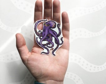 Purple Octopus Temporary Tattoo, Octopus Tattoo, Ocean Tattoo, Animal Temporary Tattoo, Purple & Gold, Sea Life Tattoo, Tentacles Tattoo