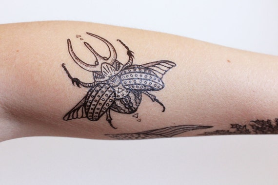 Scarab Beetle Temporary Tattoo, Black Line Tattoo, Rhino Beetle Wings Spread, Insect, Bug Tattoo, Symmetrical Tattoo