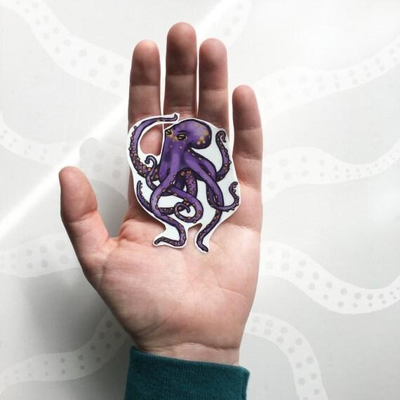 Purple Octopus Temporary Tattoo, Octopus Tattoo, Ocean Tattoo, Animal Temporary Tattoo, Purple & Gold, Sea Life Tattoo, Tentacles Tattoo