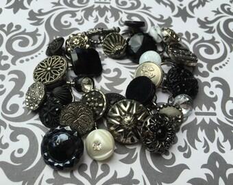 Antique and Vintage Button Bracelet, Black and Silver Bracelet, Victorian Button Bracelet