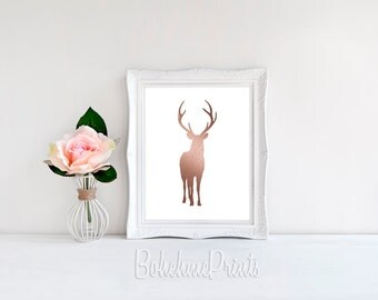 Deer Wall Art Rose Gold Print Deer Print Cool Wall Art Instant Download Print Deer Printable Art Deer Wall Decor Minimal Print Modern Print