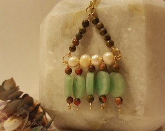 Aventurine, Unakite & Freshwater Pearl Triangle Necklace
