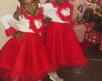 babies and girls red Santa dress
