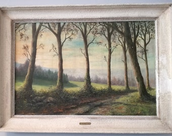 Antique oil painting Landscape on canvas SIGNED Antonin Parizy French 1900c