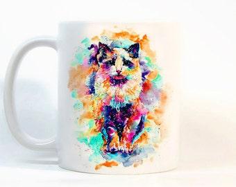 Cat coffee mug, Cat mug Watercolor Mug, Coffee Cup, Tea Cup, Gift for her, Gift for him, Printed mug, Ceramic mug
