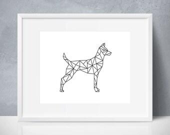 Dog, Puppy, Geometric Art, Pet Print, Dog Lover, Animal, Black and White, Modern, Printable Wall Art