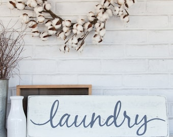 "Laundry sign | wood sign | rustic wood sign | wall decor | 24"" x 7.25"""