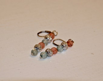 Beaded Earrings- Coral and Mint