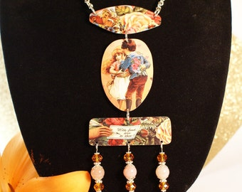 Vintage tin necklace and earrings