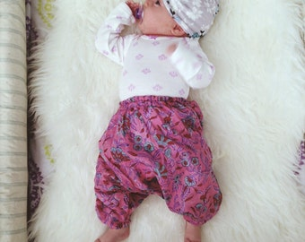 0-3 Months, Block printed cotton baby harem pants, hippie baby, bohemian baby shower gift  boho baby pant, floral aztec baby, gypsy pant,