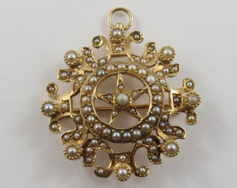 Ladies 14K Yellow Gold Round Seed Pearl Brooch/Pendant
