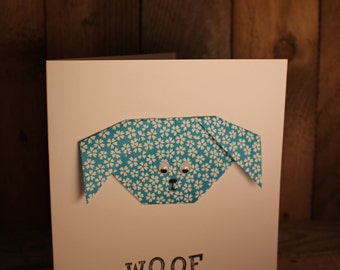 Origami Handmade Card Dog, Dogsitter, Dogwalker, New pet