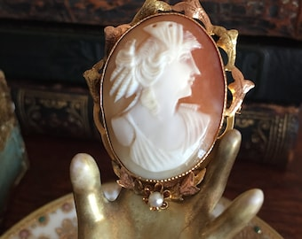 Antique Cameo Brooch /Antique Edwardian Gold filigree Cameo Brooch / Pin Pendant / Necklace / Woman