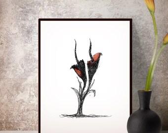 Calla lilies flower wall art print, Home Office decor, Printable women gift, Ink draw, Floral prints, Italian design, Flower prints
