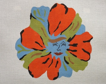 Clarice the flower girl handpainted needlepoint canvas