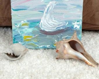 Sailboat abstract acrylic painting