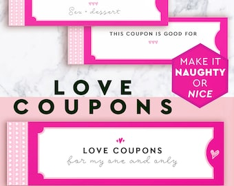 Beautiful Boyfriend Love Coupons For Him, Sexy Coupon Book, Cute Vouchers, Mens Gift, To Printable Vouchers