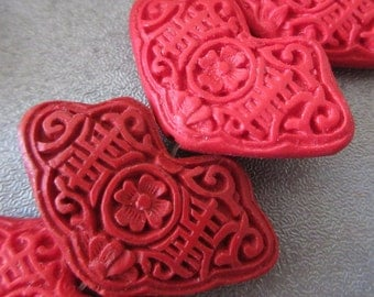 Carved Red Cinnabar Beads 2pcs