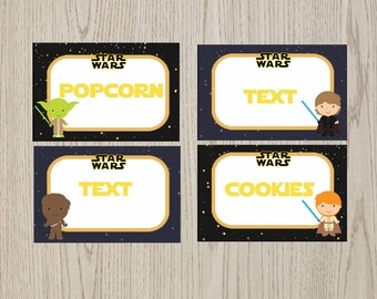Editable Star Wars Food Tent Cards, Star Wars food labels, Star Wars Birthday, Star Wars printable, Digital File.