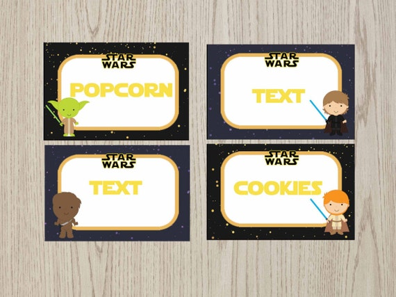 Editable Star Wars Food Tent Cards Star Wars Food Labels