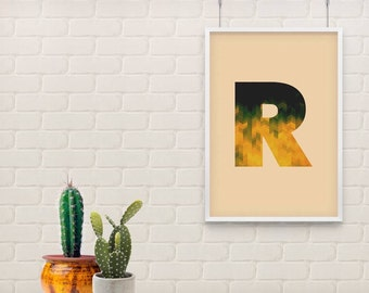 Abstract Letter Wall Art, Geometrical Wall art, Modern Wall art, Yellow wall art, Wall Art for girls room, ABC, Alphabet, Letter R
