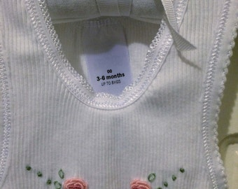 Hand Embroidered White Rose Baby Singlet