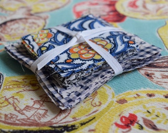Patchwork Squares : Vintage Pre-cut Blue White Yellow Gingham
