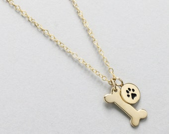 Dog Bone Necklace, Dog Paw Necklace, Gold Dog Bone, Pet Jewelry, Dog Tag Necklace, Small Dog Bone, Animal Lover Jewelry, Dog Memorial Gift