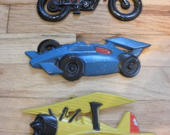 Airplane, Race Car, and Motorcycle wall art