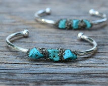 Turquoise Cuff Bracelet, Silver Raw Turquiose Pyrite Bangle, Genuine Turquoise Stone, Healing Mineral Jewelry, December Gem, Summer Wear
