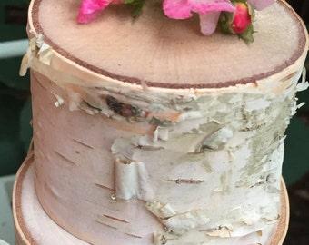 Beautiful White Birch Wedding Cake