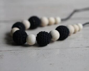 Black Crochet Wood Bead Necklace ~ Teething Necklace ~ Nursing Necklace
