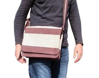 Small Messenger Bag Eco-friendly Hemp Bag Leather Trim