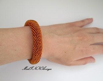 Bronze bracelet, bead crochet bracelet Christmas present bright bracelet, beaded rope, trending bracelet, seed beads, gift for her