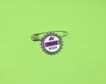 20 Up Grape Soda Pin, Grape soda badge with safety pin (20 pins)