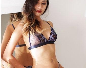 Blue bralette, handmade lingerie, lace lingerie, bra, erotic lingerie, bridal lingerie, sheer lingerie,bralets by Ange Dechu