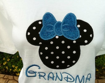 ADULT SIZE Mouse Ears Family Disney Vacation Personalized Embroidery Applique Shirt