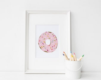 Donut Printable, Donut wall art, Doughnut Print, Food Art Print, Doughnut Print, Kitchen Decor, Doughnut Illustration, Pink wall art, Cake