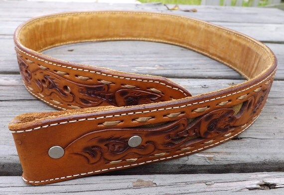 Western Style Cowboy Belt,  size 32, vintage, handmade USA, 1970s