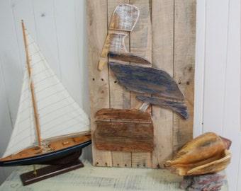 Wood Pelican, Layered Wood Beach Decor Wall Art, Beach Sign, Bird Art