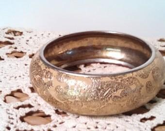 Vintage Bangle Bracelet Traditional Etched Design Hollywood Style