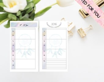 Printed Planner Inserts - Dated  Horizontal Layout Planner - Week on Two Pages -  Filofax Personal - Kikki K Medium - Dream Catcher