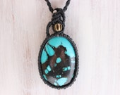 Natural stone Turquoise Necklaces, macrame crochet (Cool Beauty)