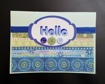 Hello Handmade Greeting Card - Blank Inside